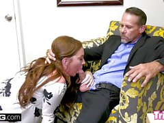 Naughty Maddy fucks the therapist while her husband waits