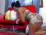 Blonde lesbian gets her ass licked while she sleeps on couch