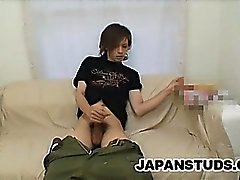 Japanese dude Shane Omura jerks off his cock while looking