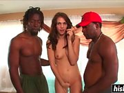 Two black guys fuck a hot babe