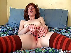 Pierced Staci fingering her pussy