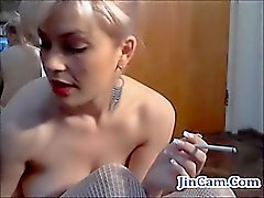 Smoking girl dance and masturbates wet pussy on webcam