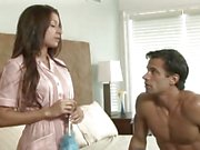 Eager little fuck slut maid Ann Marie makes the bed she's fucked on