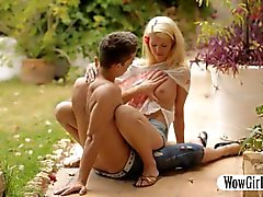 Beautiful teen girl Izzy Delphine pussy banged outdoors
