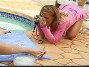 Lesbos fun by the pool