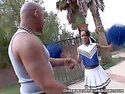 Ebony Cheerleader Loving a Huge Cock