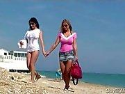 Carol Goldnerova and Adrianne Black beach fun