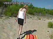 18 years old blonde teen at beach