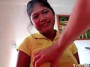 Cute curvy Filipina gets to sucking dick