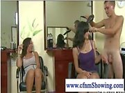 Cfnm women enjoy jerking naked hairdresser