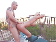 Busty blonde Brooke Banner gets her pussy pounded outdoors