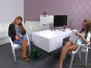 Brunette amateur pussy toyed on casting in office