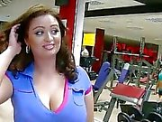 Huge juggs Sirale twat banged in the gym