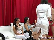 Party babe use penis pump on amateur guy