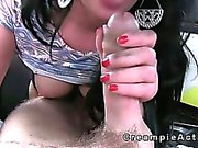 Brunette gets her shaved pussy creampied in faketaxi