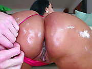 Bootylicious Latina Kiara Mia gives her lover a sloppy blowjob