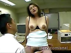 huge stacked japanese secretary gets her hairy pussy fingered at work