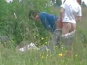 Voyeur BJ and sex in a field