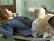 Asian teen gets her first mistreated vaginal check up