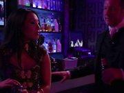 Asa Akira and Kaylani Lei get orgy started at the bar