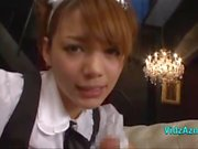 Cute Maid Playing With Guy Cock Giving Handjob On The Couch In The Lounge