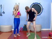 Massive dick gym fuck with hot blonde Madelyn Monroe