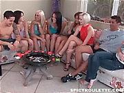 6 girls sucking & fucking 2 cocks