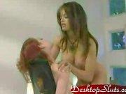 Aria Giovanni Lesbian Threesome with bondage play