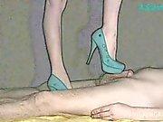 A Scanner Darkly. Cartoon Turquoise Heel Job Cock Tease by Sylvia Chrystall