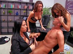 Office orgy with busty Vanilla Deville and Ava Addams