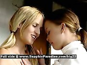 Aneta and Mya astonished lesbian babes undressing