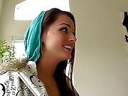 Cute brunette teen having interracial sex