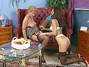 Mature lesbian licks a skinny Latin teen