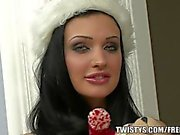Celebrate the holidays with Aletta and her thick dildo