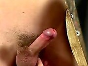 Gay sexy man on man bondage Skinny Slave Cums Hard!
