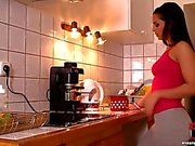 Eve Angel fingering in kitchen
