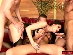 Brunette milf foursome and facial