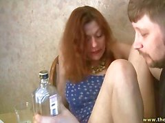 Curvy drunk girl shows him her hairy pussy