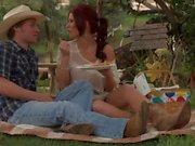 Flirty Redhead Brooklyn Lee turns cowboy on