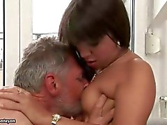 Lucky grandpa fucks a young girl