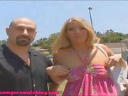 nice big real boobs gets fucked and facial in front of husba
