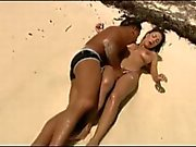 Sex on the beach with a busty slut