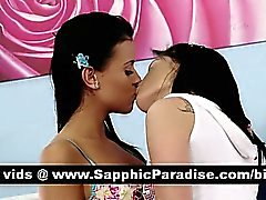 Sensual brunette lesbos kissing and having lesbo sex