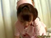 Nurse asian hottie gets wet