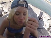 Big booty freak Blondie Fesser got pounded hard at the beach