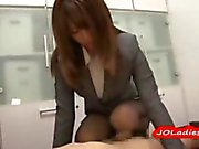 Office Lady In Pantyhose Giving Footjob Guy Cumming To Himself On The Floor In The Office