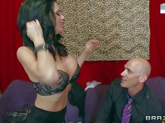 Buxom lingerie clad MILF Veronica Avluv takes big erect cock