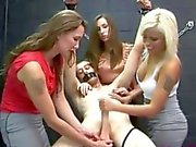 Domina tugs a bound victim and he loves it