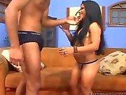 Brazilian Midget Melissa Takes Huge Black Cock midget dwarf cumshots swallow