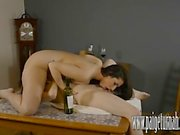Paige Turnah makes horny lesbian slut cum in wine bottle